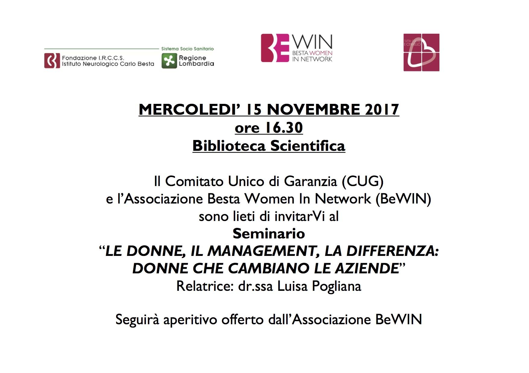 Evento CUG-BEWIN 15 novembre